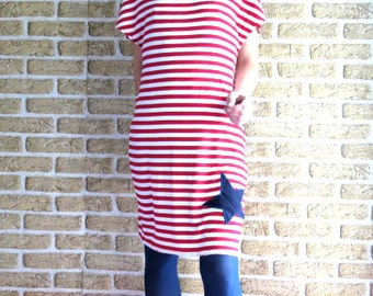 Casual t-shirt dress striped red white with star midi, made to order,  tunic dress, tunic shirt, wasted, , kneelength, Jersey dress