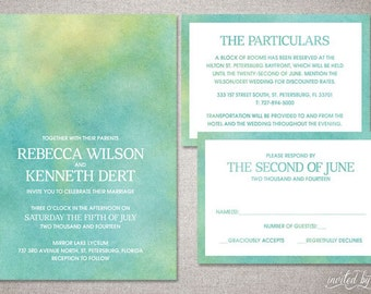 "Watercolor Ombre ""Rebecca"" Wedding Invitation Suite - Whimsy Modern Beautiful Unique Invitations - DIY Digital Printable or Printed Invite"