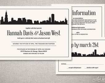 "City Skyline ""Hannah"" Wedding Invitations Suite - Modern Graphic Classic Chicago Invite - Custom DIY Digital Printable or Printed Invitation"