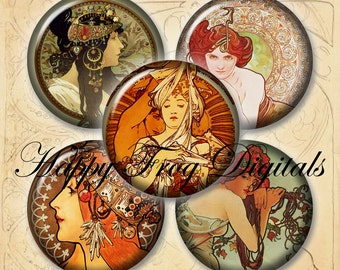 "Alphonse Mucha - Art noveau -  1.5"", 1"", 30 mm, 25 mm circles - digital collage sheet - 075 HFD  - Printable Download - Instant Download"
