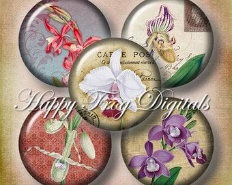 "Vintage orchids - 1.5"", 1"", 25 mm, 30 mm circles - digital collage sheet - 090 HFD  - Printable Download - Instant Download"