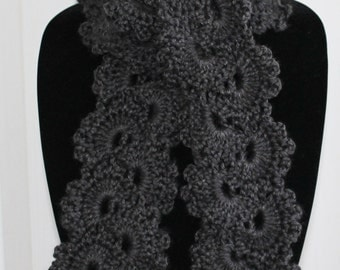 Beautiful Charcoal Grey Queen Anne's Lace Handmade Crochet Scarf