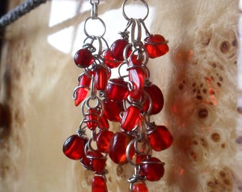 Red Drop Spiraled Wire Earrings
