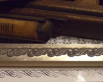 "Letterpress Printing Block ""Swirl Line Border""  - Letterpress Blocks - Print Blocks - Mounted Letterpress Block - Magnesium Print Plate"