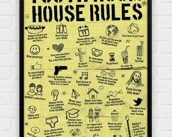 Inspirational, Printable Art, Download and Print JPEG Image - Youth Room Rules Christian Poster