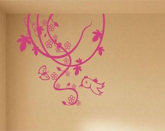 Nursery Vinyl Wall Art Sticker Decal Branches Bird Butterfly Sticker
