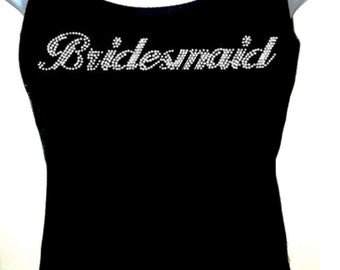 Rhinestone Bridesmaid Wedding TANKTOPS Shirt Blacks Size:S, To 3XL  bridal party Free Shipping