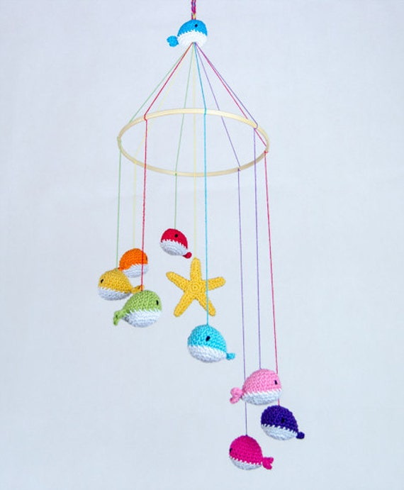 Crochet Baby Mobile Patterns : Items similar to Colorful Crochet Whale Mobile - Baby ...