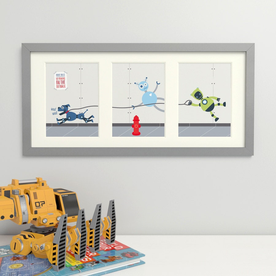 Robots robot art boys wall art boys room decor robot dog for Boys wall mural