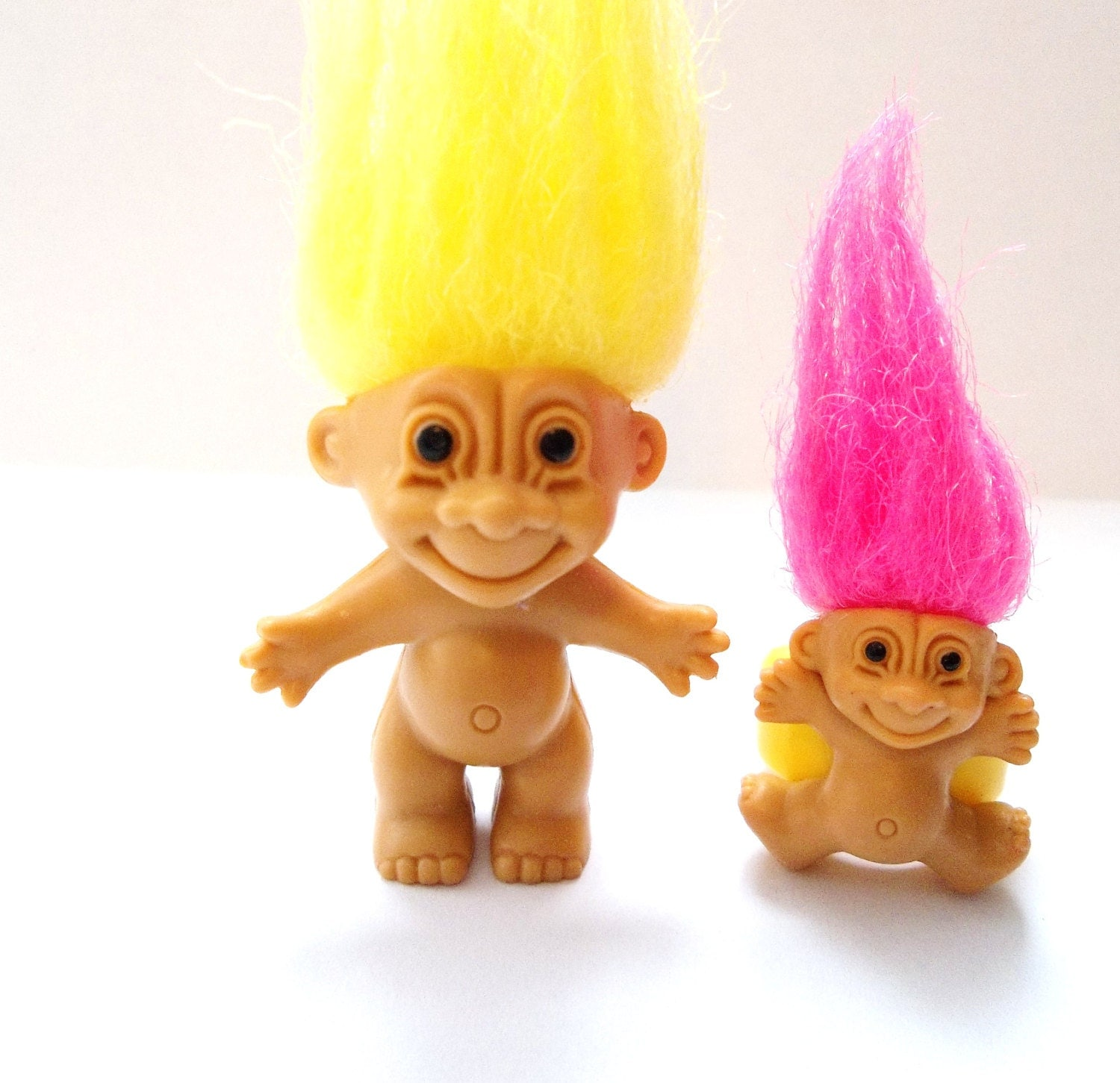 Miniature Troll Doll And Troll Jewelry Ring Yellow And Pink