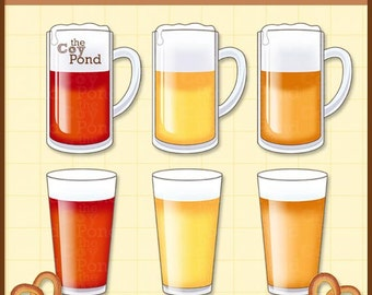 INSTANT DOWNLOAD Beer and pretzel Clip Art -- clipart, beer, pilsner, amber, pale ale, pretzel, party, sports, scrapbooking, cards, websites