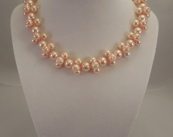 Very Lovely and Elegant, 10mm Blush Pink Glass Pearl Necklace with 8mm Blush Pink Glass Pearls Decoration