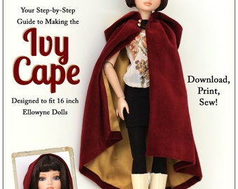 Pixie Faire Melody Valerie Couture Ivy Cape Doll Clothes Pattern for 16 inch Ellowyne Wilde Dolls - PDF