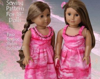 Pixie Faire Eden Ava Hawaiian Sundress Doll Clothes Pattern for 18 inch American Girl Dolls - PDF