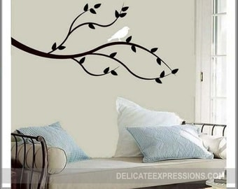 Tree Branches Wall Decal with Bird - Tree Decal Branch Wall Decal Tree Wall Art - Tree Branch Vinyl Wall Decal - Nature Wall Decal