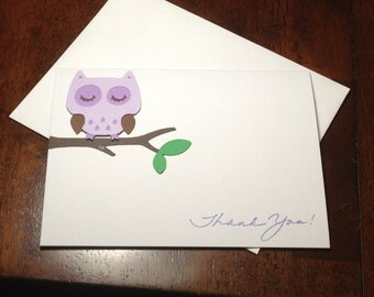 Baby Shower Thank You Note Card Set Handmade Purple Owl, Thank You Cards, Baby Shower Birthday Purple Owl Thank You Cards