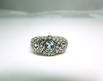 Aquamarine and Seed Pearl in Sterling Silver