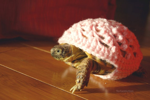 Tortoise or Turtle Cozy, S, pink crocheted, 4-5 inch shell