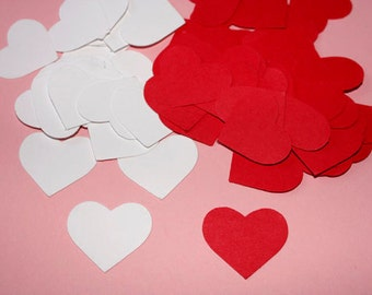 100 Red and White Heart Confetti, Heart Die Cuts, Valentine's Day Decorations, Baby Shower, Red and White Wedding, Bridal Shower Decorations