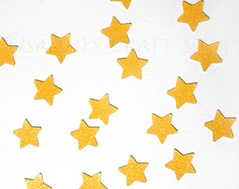 100 Yellow Glitter Stars Confetti, Small Yellow Stars, Die Cut Star Confetti, Twinkle Twinkle Little Star Birthday Decorations, Baby Shower