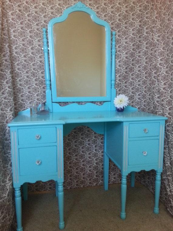 Vintage Tiffany Blue Vanity With Swivel Mirror