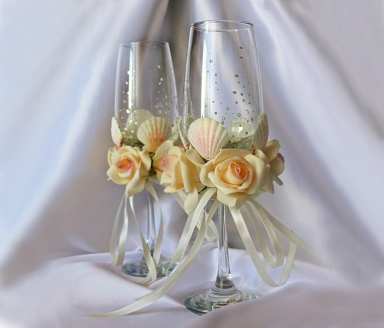 Beach Champagne: Ivory Beach Theme Wedding Champagne Glasses Bridal By