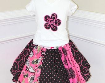 girls skirt toddler skirt twirly skirt skirt with panels summer skirt spring skirt fall skirt birthday set hot pink and black skirt