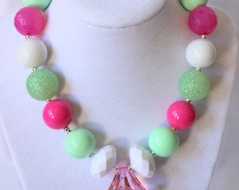 chunky bead necklace for girls bubble gum necklace bubblegum necklace bubblegum bead necklace mint green pink birthday summer necklace