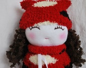 """SALE- Waldorf Doll: Hangin' About Waldorf Sock Doll with Hands in Pockets, Soft Red Dress & Hat 13.5"""" Tall, OOAK"""