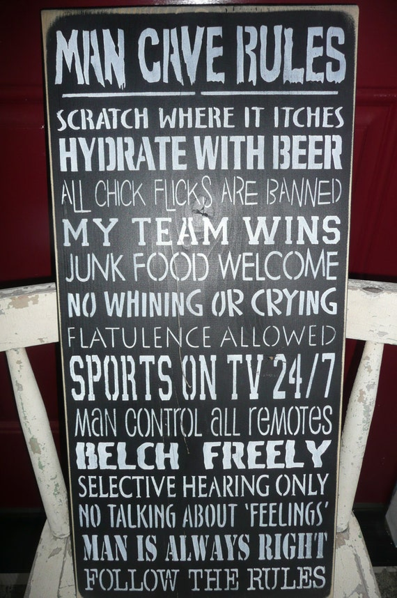 Hand Painted Man Cave Signs : Man cave rules hand painted wood sign for him typography