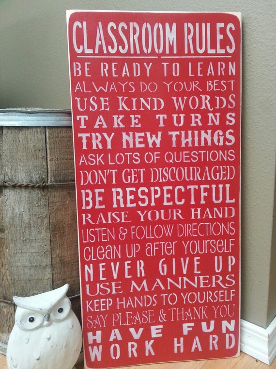 Classroom Rules Decor ~ Teacher sign classroom rules hand painted wood by