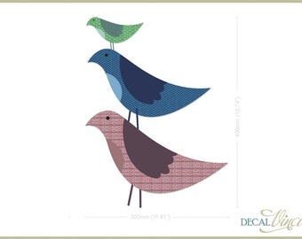 Fabric Wall Decal Bird Stack