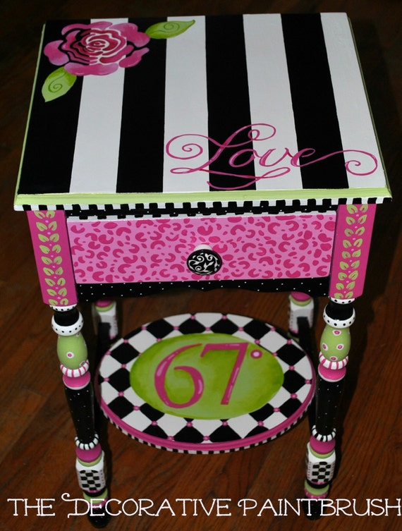 Items similar to painted nightstand small table end table - Paint for childrens furniture ...