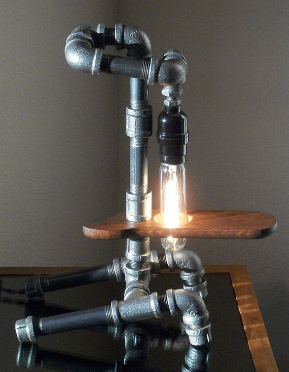 Industrial art one of a kind black iron pipe desk table lamp for Painting black iron pipe