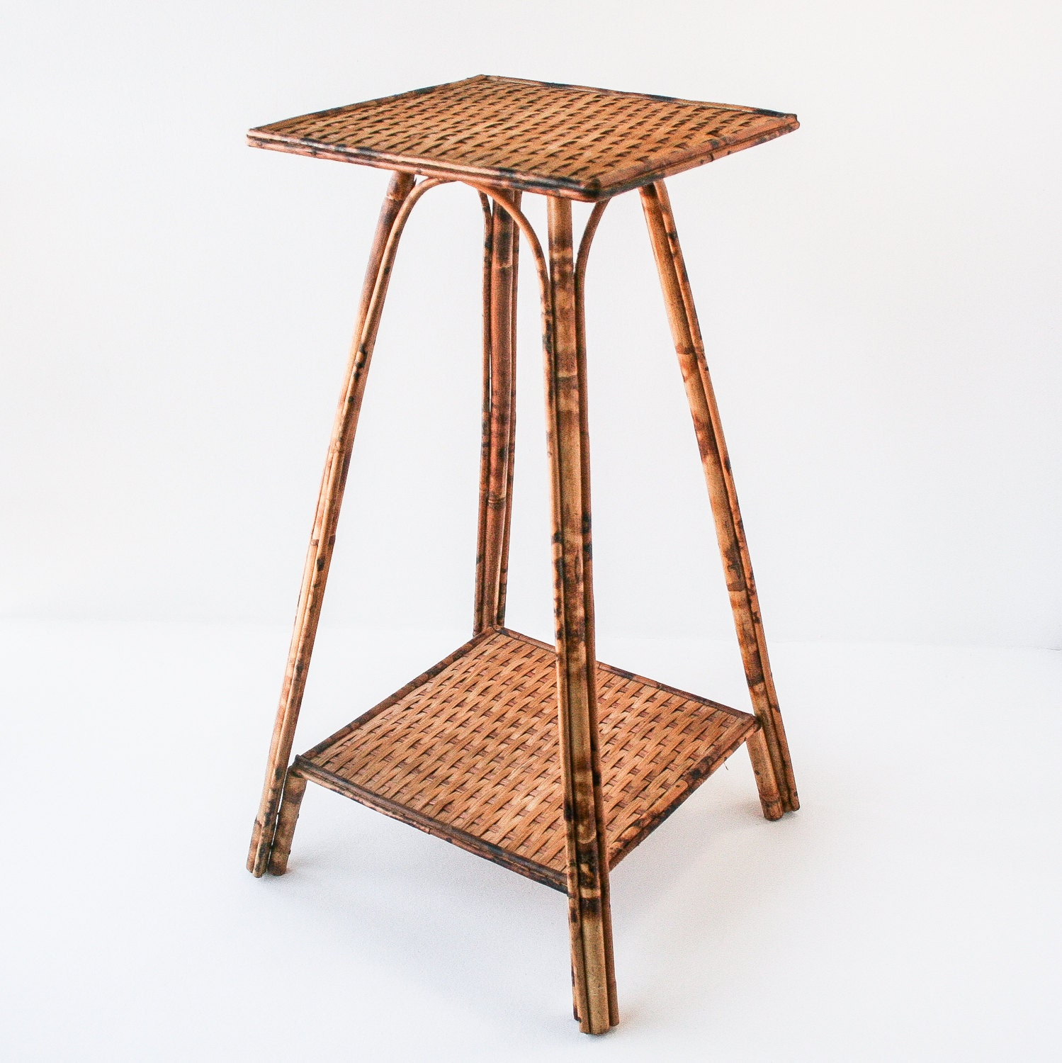 Vintage rattan bamboo plant stand side table for Bamboo side table