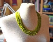 Olive green spikes beads czech glass Fashion Tribal Rustic Modern necklace twisted - EstherDorothy