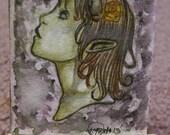 ACEO Original Watercolor Dark Art - Imp