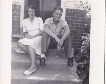 Vintage Photograph - Man Woman Vintage Photo - 40s Photo - Military Marine Photo