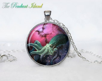 NEBULA OCTOPUS Pendant  Nebula Octopus Necklace Galaxy necklace Space pendant  Jewelry Necklace for him  Art Gifts for Her