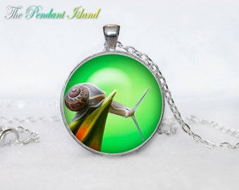 SNAIL Pendant snail Necklace Green Jewelry Necklace for him  Art Gifts for Her