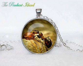 Ant Pendant ant Necklace Green Jewelry Necklace for him  Art Gifts for Her