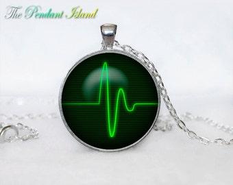 Heartbeat Necklace, Heart Pendant Heart jewelry  Heartbeat Sign Pendant Art gift for men for women Green Black