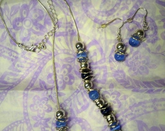 Light blue and Dark Blue Necklace and Earrings Set