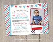 Red Wagon Birthday Invitation / Red Wagon invitation / Little Red Wagon Invitation / Red Wagon Party / Little Red Wagon Birthday