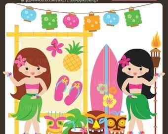 Luau Clip Art / Luau Clipart /  Hawaii Clipart / Hula Girl Clip Art  / Summer Clipart / Tiki Clipart / Commercial & Personal