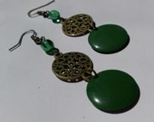 Green and Brass Scroll Earring