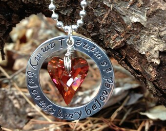 Hand stamped and Swarovski Crystal Heart Love Sentiment Necklace