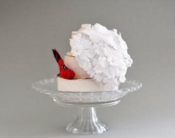 Floral Wedding Headpiece Floral Bridal Hat, Sheer White Flower hat, Wedding Hat Bridal Hat, Wedding hat Fascinator,bridal headpiece