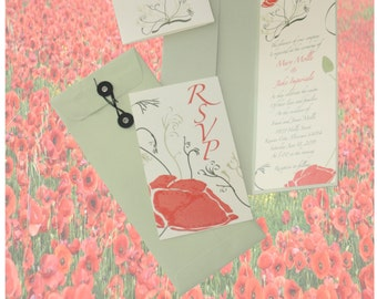 Unique custom handmade individualized and luxury wedding invitations with a poppy theme