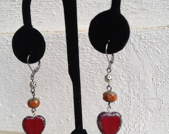 Smokey Red Heart and Beaded Dangling Earrings